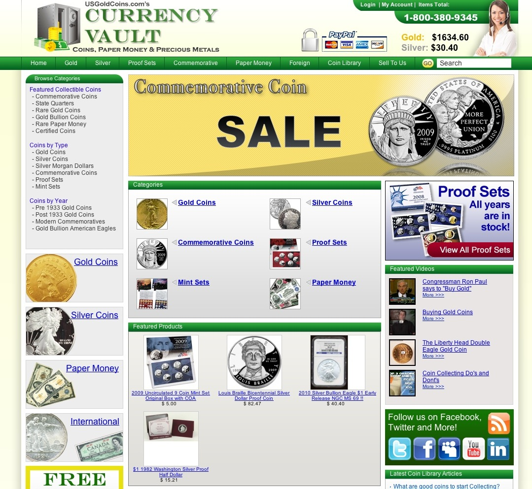 Buy gold, silver and platinum coins, modern commemoratives,  rare paper money, international paper money and the worlds largest spot price fluctuating online store. Currency Vault has over 500 coin and currency items with free shipping on all orders!