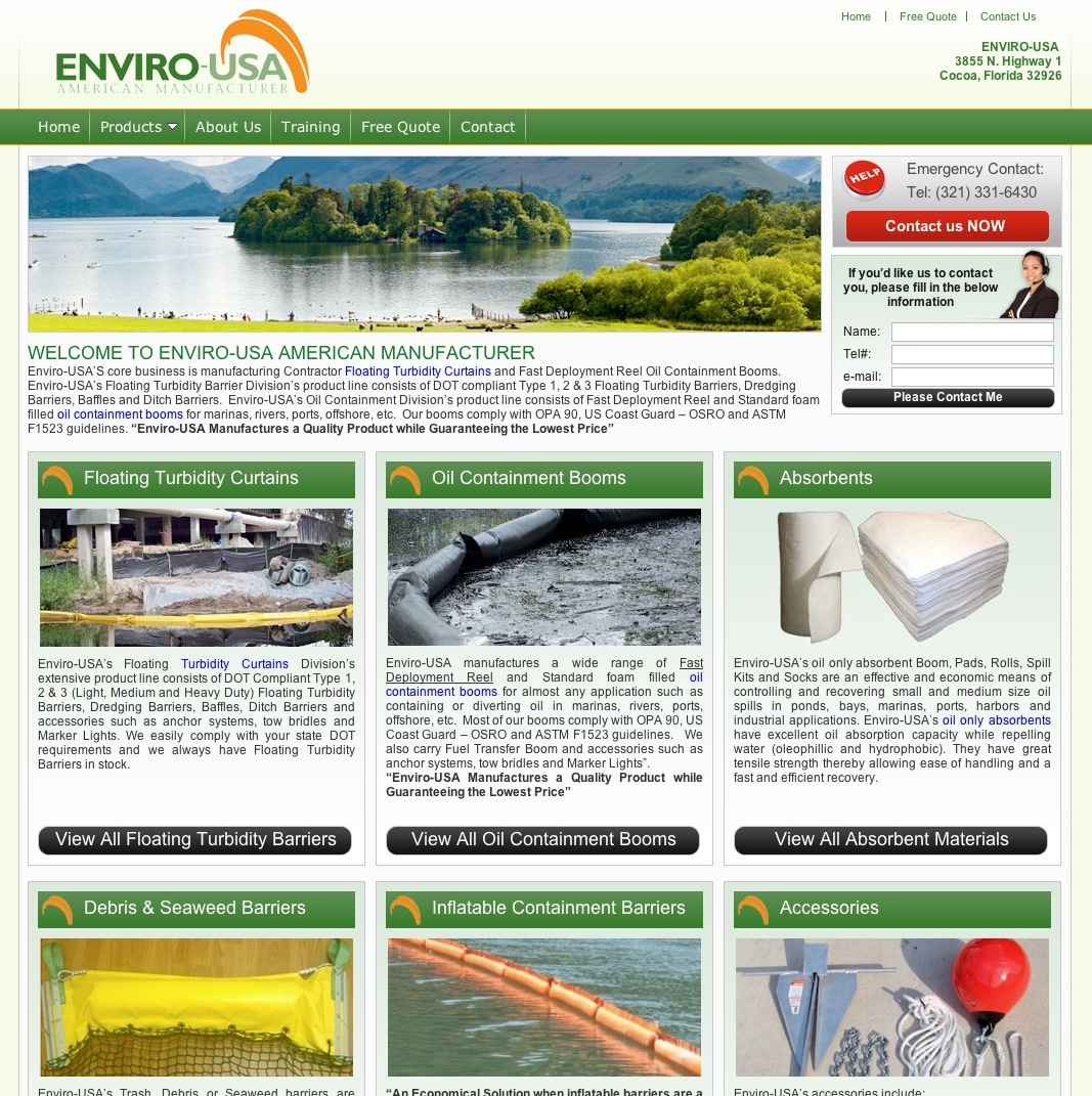 Made in USA Turbidity Barriers, we manufactuer the highest quailty turbidity curtains, oil containment booms and absorbent materials. Visit us today and find out more about Enviro-USA American Manufacturer.