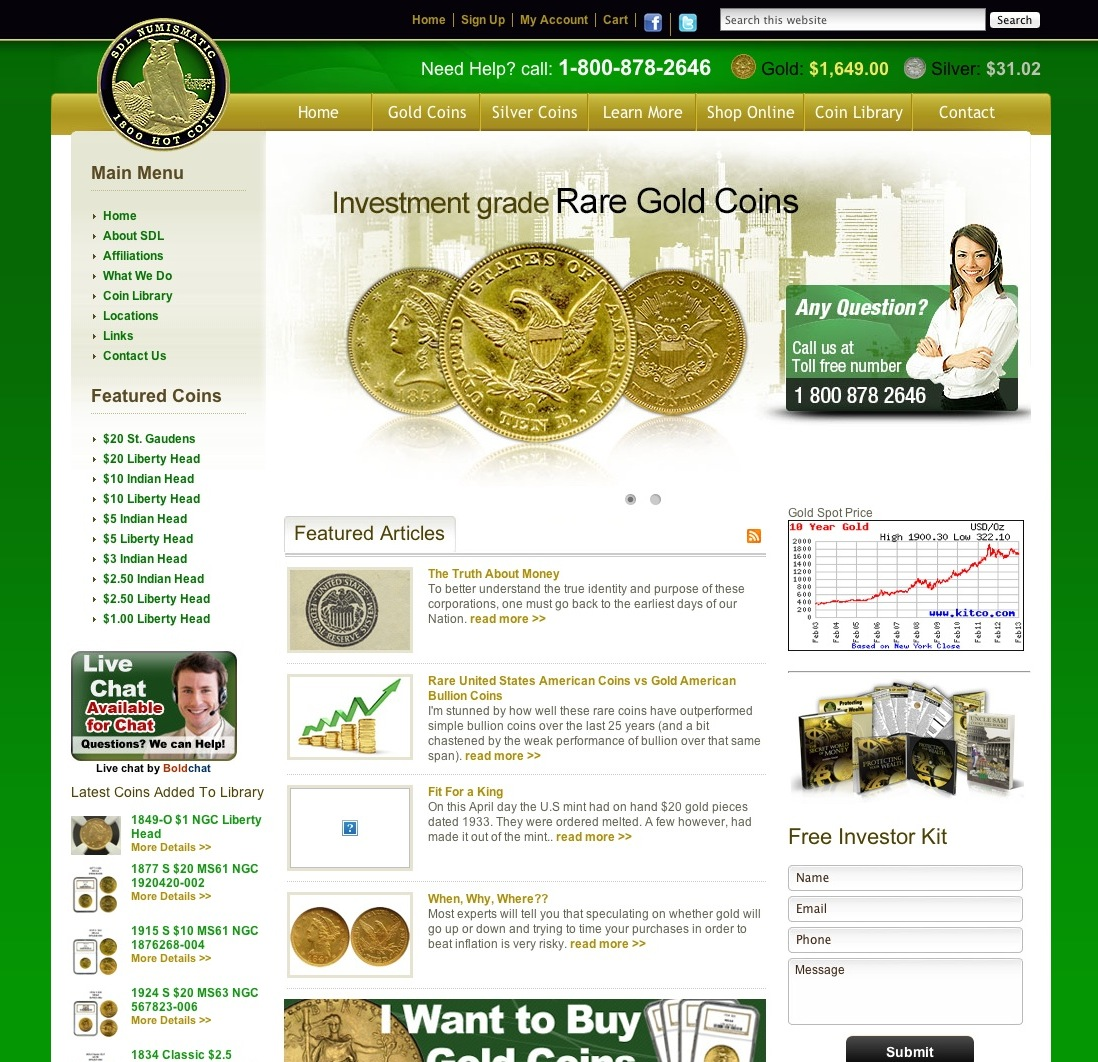 Gold Coins: US, Rare and Collectible. SDL Numismatic Properties in business for over 25 years. We buy, sell, locate all coins and collections.