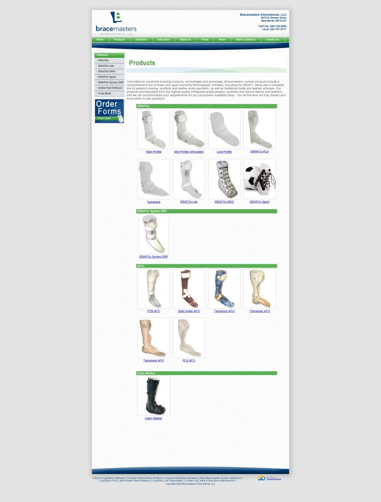 Fabricated from the highest quality, orthopedic grade plastics, synthetic and natural fabrics and leathers, our product line of lower and upper extremity braces are designed with accurate fitting techniques. We can accommodate your requirements for any component available today.