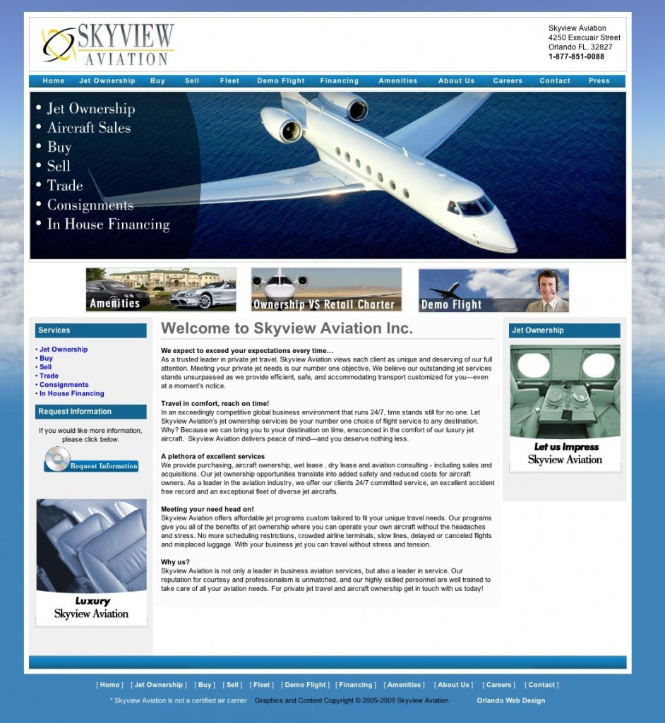Skyview Aviation is a leader in business aviation services. We provide Private Jet Sales, Jet Ownership, aircraft management programs, aviation consulting - including acquisitions and sales. Our asset management services translate directly into greater safety, increased revenue and lower costs for aircraft owners.